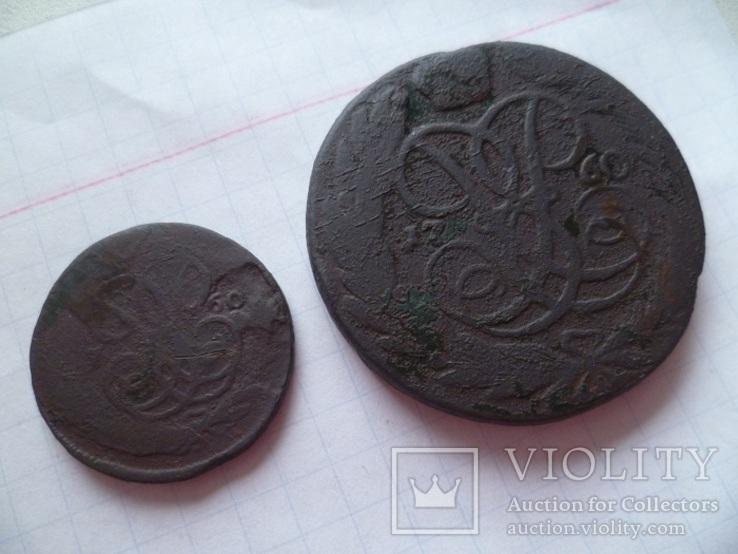 Лот монет 18 века. ( 5 копеек и 1 копейка 1760 г.г.), фото №5