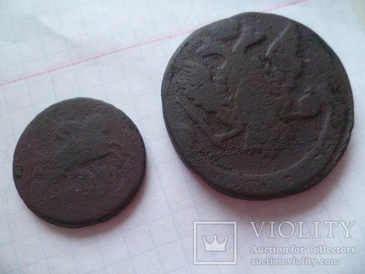 Лот монет 18 века. ( 5 копеек и 1 копейка 1760 г.г.), фото №6