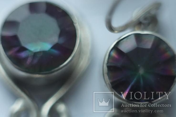 Комплект серебра 925 пробы серьги и кольцо . Вставки из мистиктопазов, фото №7