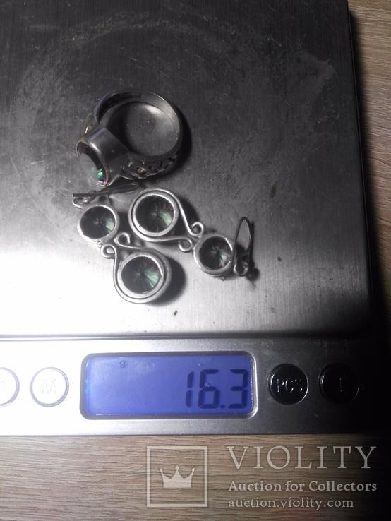 Комплект серебра 925 пробы серьги и кольцо . Вставки из мистиктопазов, фото №12