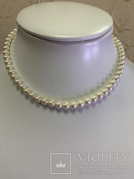 Серебряное винтажное колье из белых бусин, фото №2