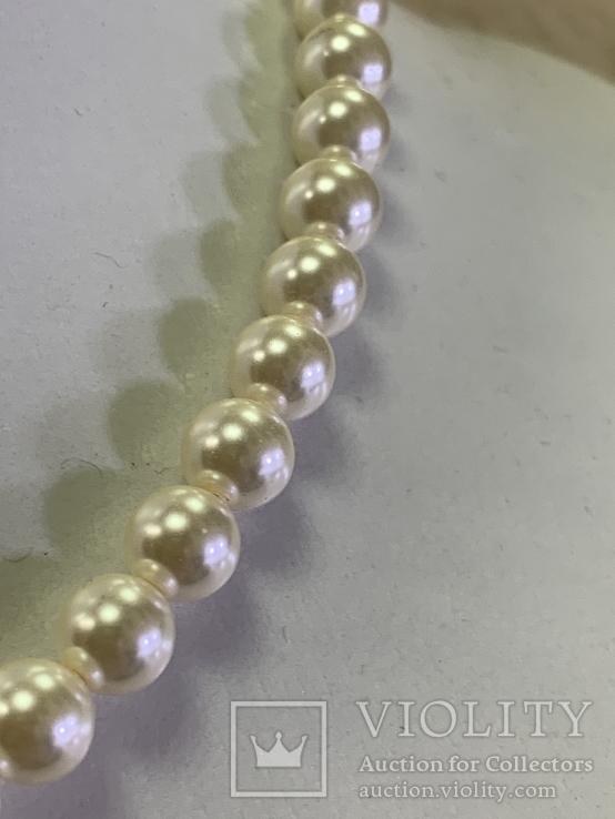 Серебряное винтажное колье из белых бусин, фото №4