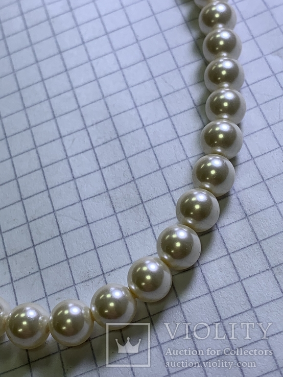 Серебряное винтажное колье из белых бусин, фото №7
