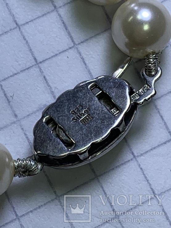 Серебряное винтажное колье из белых бусин, фото №8