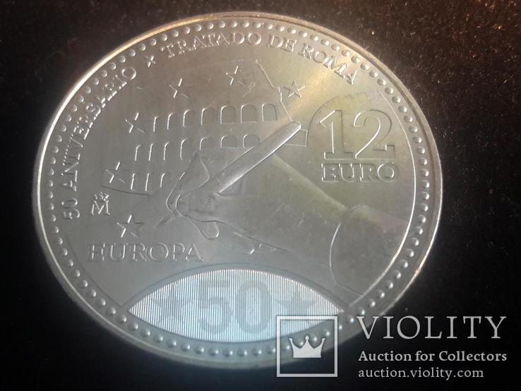 """Испания, 12 серебряных евро """"50 лет Римскому договору"""" 2007 г., фото №4"""