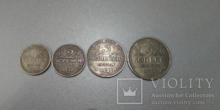 Набор пробных монет СССР колхозница 1,2,3,5 копеек 1926 года копии, фото №2