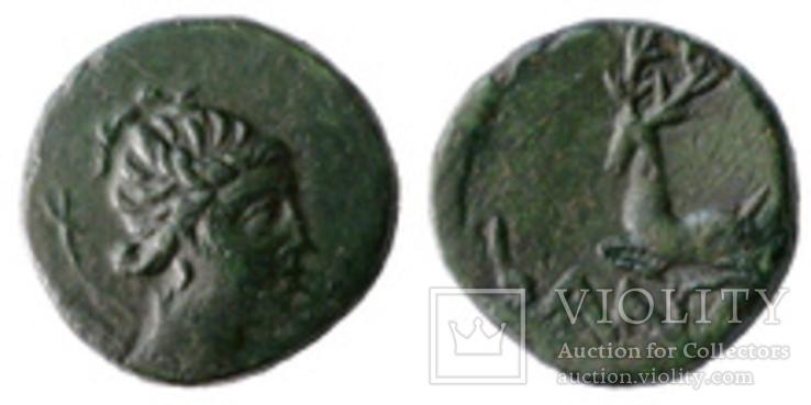 Античная монета артемида олень