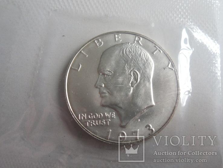 1 Доллар 1973г  в запайке с жетоном, в конверте, фото №4