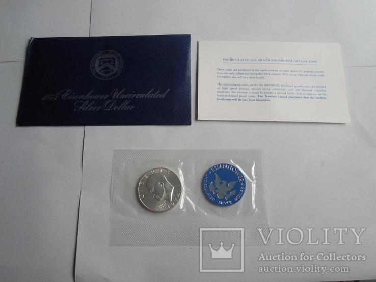 1 Доллар 1974г  в запайке с жетоном, в конверте, фото №2