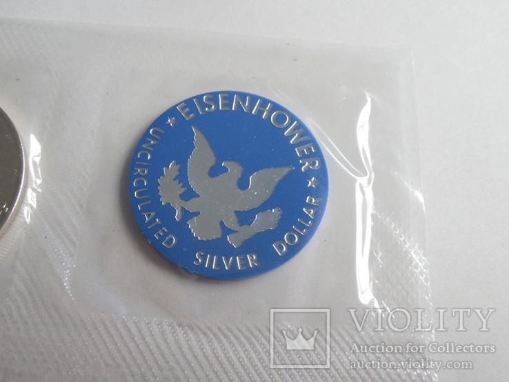 1 Доллар 1974г  в запайке с жетоном, в конверте, фото №5