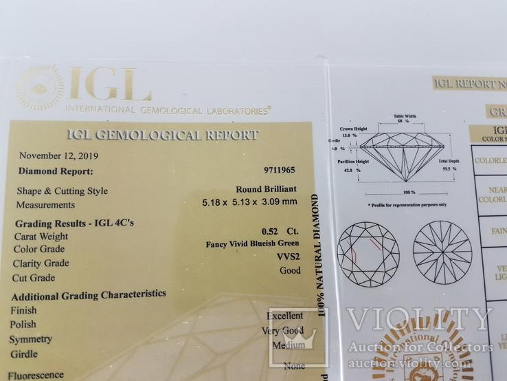 Природный фантазийный бриллиант 0,52 карат с сертификатом, фото №6