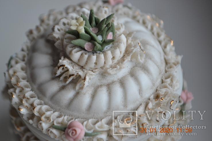 Фарф шкатулка (сахарница). Capodimonte, Victoria. Made in Italy. Decorato a mano. Позолота, фото №5