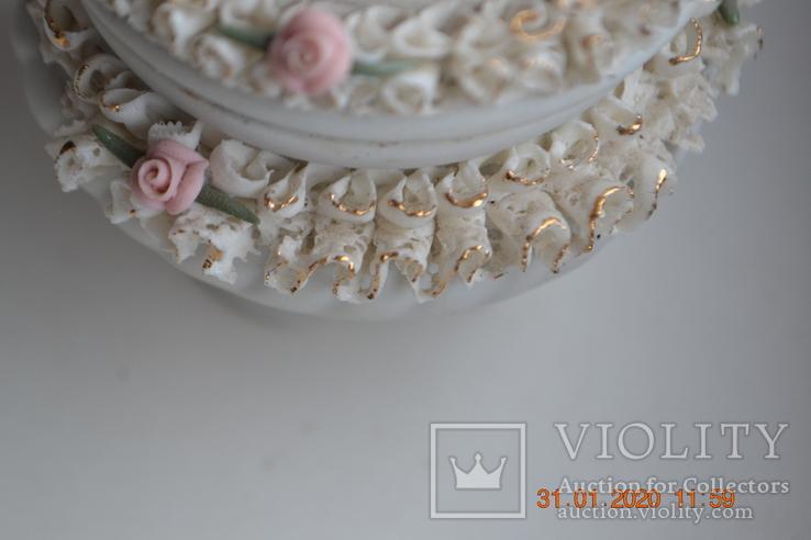 Фарф шкатулка (сахарница). Capodimonte, Victoria. Made in Italy. Decorato a mano. Позолота, фото №6