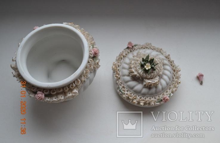 Фарф шкатулка (сахарница). Capodimonte, Victoria. Made in Italy. Decorato a mano. Позолота, фото №7