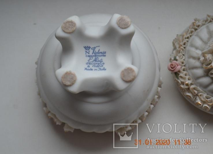 Фарф шкатулка (сахарница). Capodimonte, Victoria. Made in Italy. Decorato a mano. Позолота, фото №8