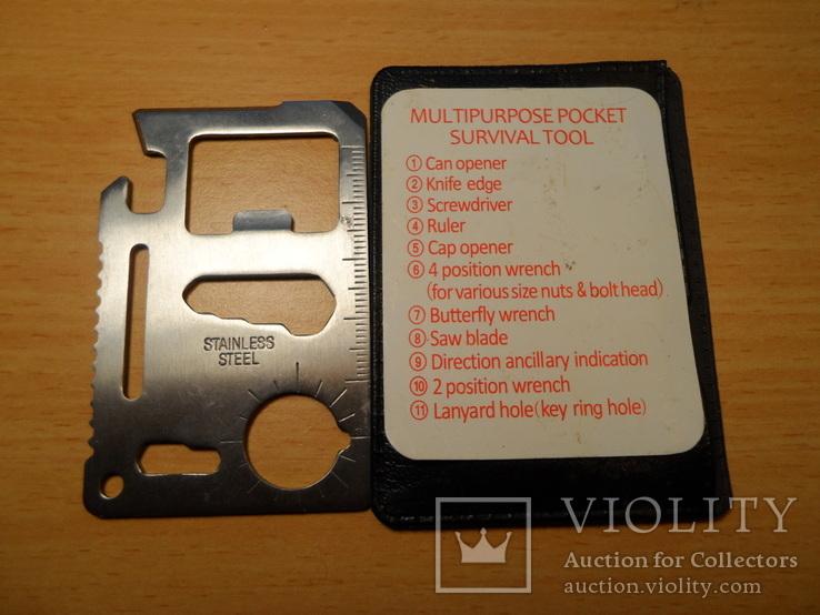 Мультицелевой карманный инструмент выживания, 11 функций., фото №3