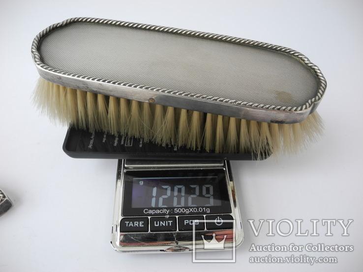 Большой Будуарный Набор Зеркало и 3 Щетки Серебро 800 пр ( Винтаж Европа ), фото №10