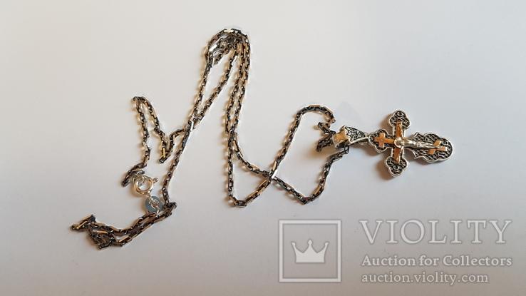 Крестик нательный с цепочкой. Серебро 925. Вес 7.8 г. Длина 50 см., фото №2