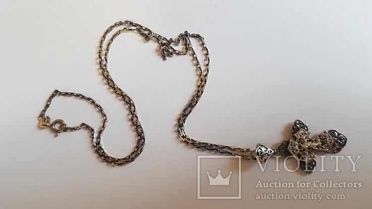 Крестик нательный с цепочкой. Серебро 925. Вес 6.7 г. Длина 50 см., фото №2