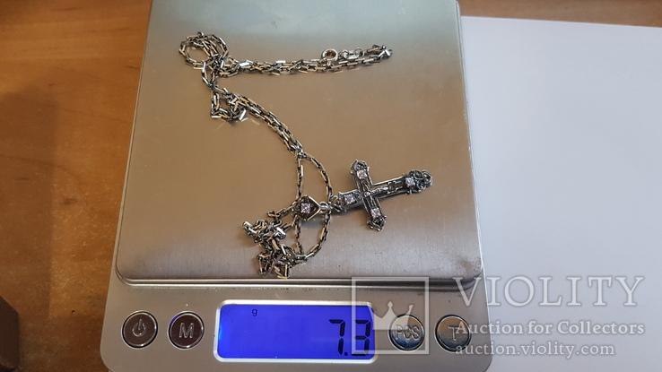 Крестик + цепочка 60 см, серебро 925. Вес 7.30 г., фото №9