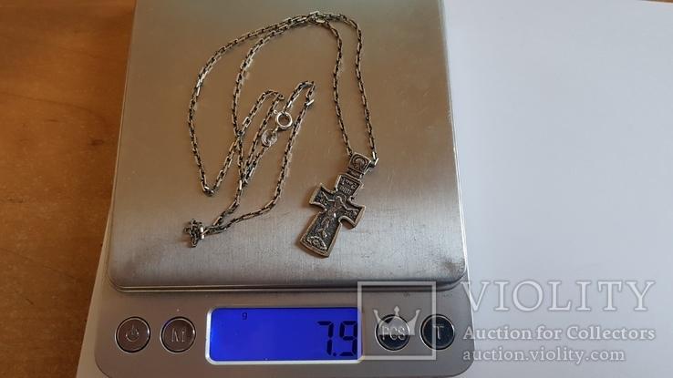 Крестик нательный с цепочкой. Серебро 925. Вес 7.9 г. Длина 50 см., фото №8