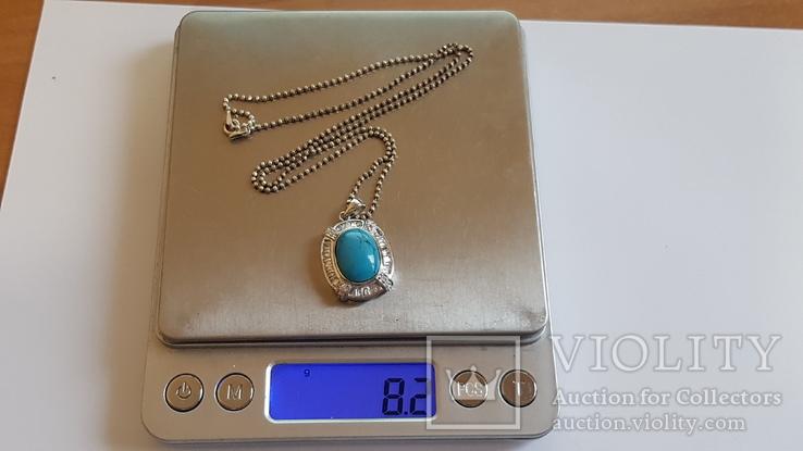 Кулон - бирюза с цепочкой 50 см. Вес 8.1 г., фото №9