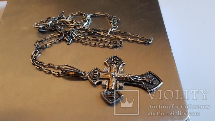 Крестик + цепочка 60 см, серебро 925. Вес 11.1 г., фото №9