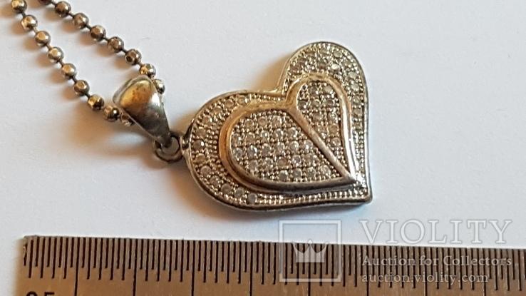 Кулон в виде сердца + цепочка 50 см. Серебро 925 проба. Вес 5.3 г., фото №4