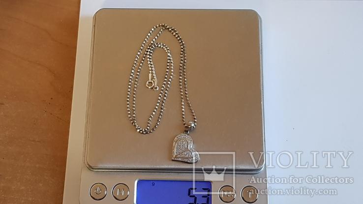 Кулон в виде сердца + цепочка 50 см. Серебро 925 проба. Вес 5.3 г., фото №9