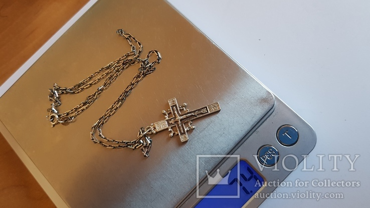 Крестик + цепочка 50 см, серебро 925. Вес 7.3 г., фото №9