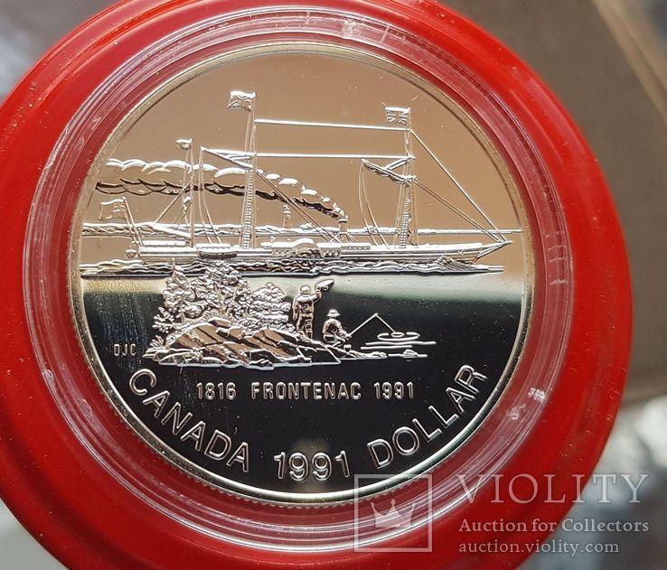 Канада 1 доллар 1991 г. Серебро. Фронтенак, фото №2
