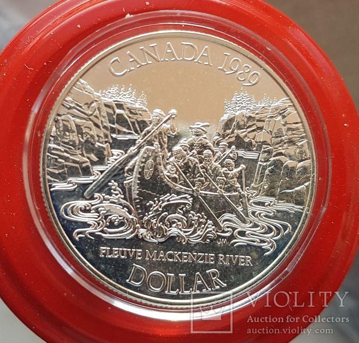 Канада 1 доллар 1989 г. Серебро. Река Маккензи., фото №2