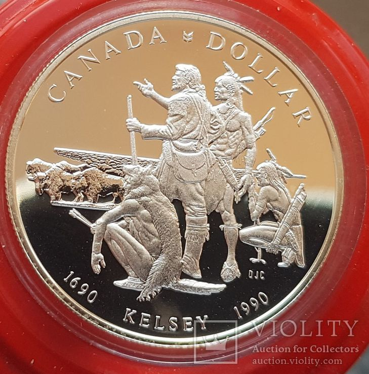 Канада 1 доллар 1980 г. Серебро. 300-летие экспедиции Генри Келси по Северной Америке.., фото №2