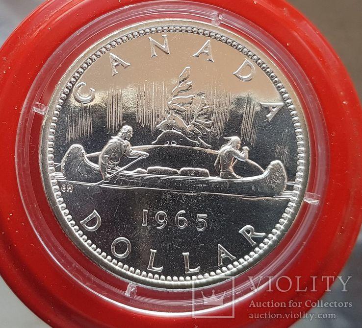 Канада 1 доллар 1965 г. Серебро. Каноэ, фото №2