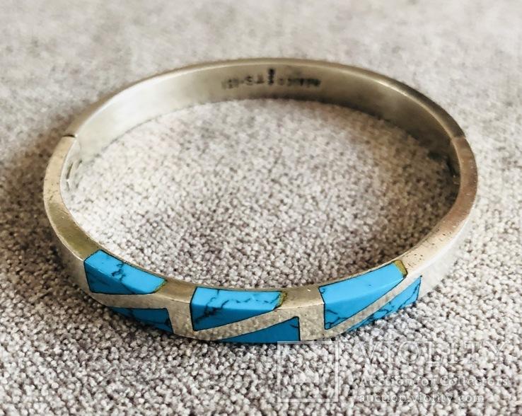 Серебряный Мексиканский браслет с бирюзой (Серебро 925 пр, вес 27 гр), фото №2