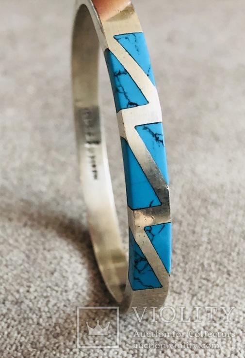 Серебряный Мексиканский браслет с бирюзой (Серебро 925 пр, вес 27 гр), фото №5