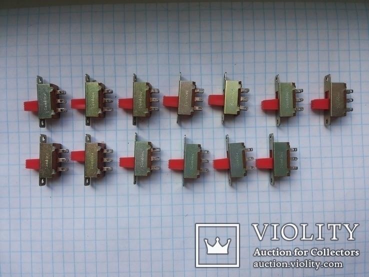Переключатель движковый SunRise 6 pin 13 шт, фото №3