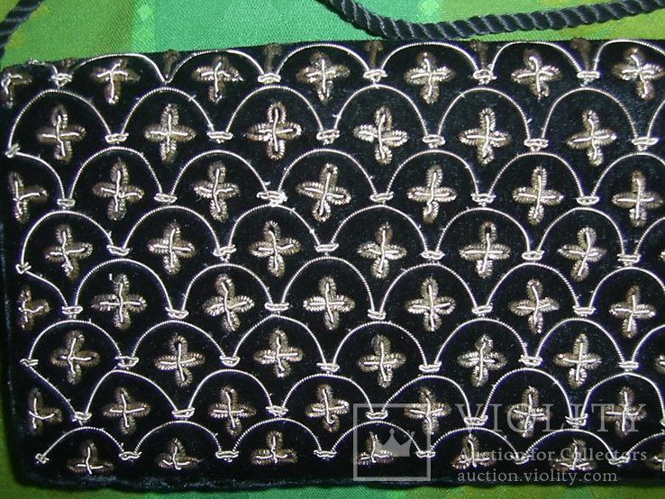 Сумочка бархатная с вышивкой металлической канителью, фото №4