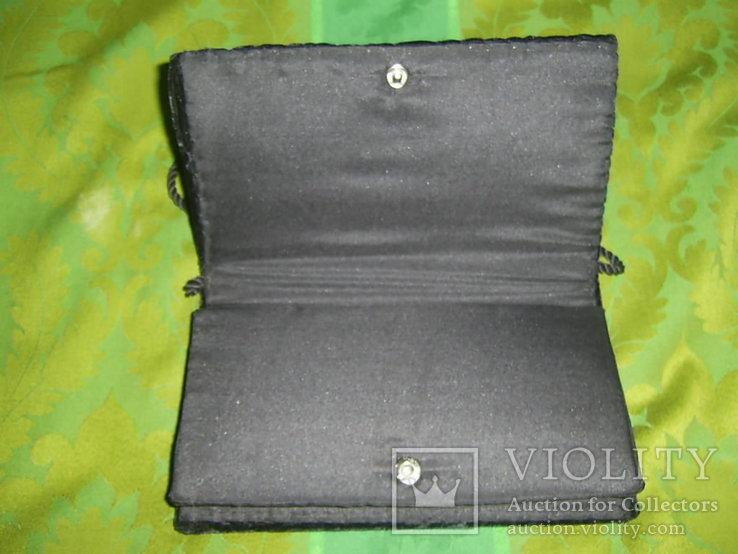 Сумочка бархатная с вышивкой металлической канителью, фото №6