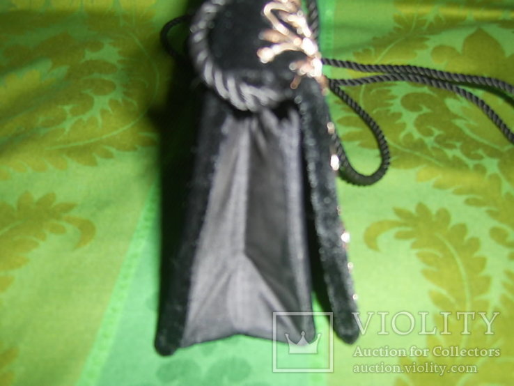 Сумочка бархатная с вышивкой металлической канителью, фото №8