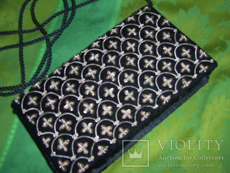 Сумочка бархатная с вышивкой металлической канителью, фото №9