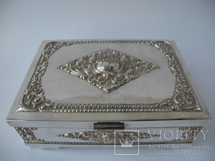 Шкатулка для украшений ( Серебро 800 пр , 560 гр. ) Европа, фото №3