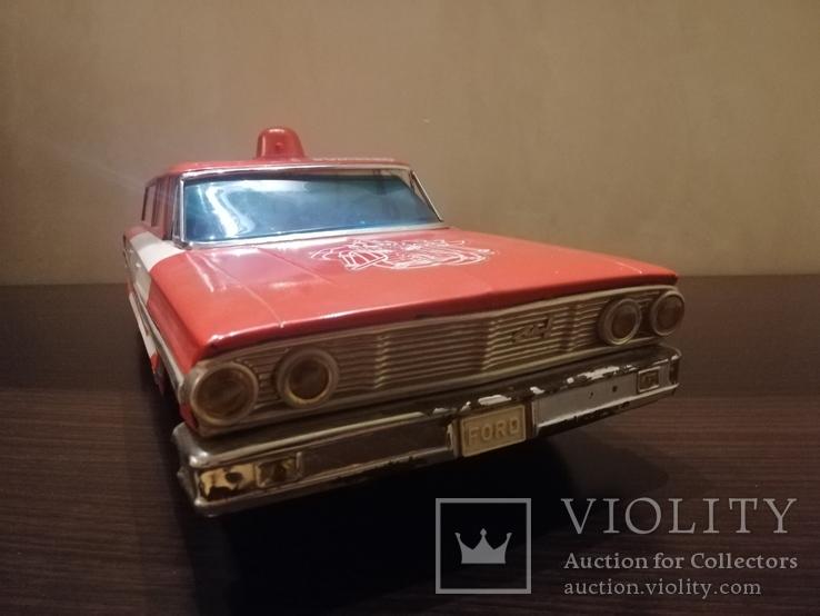 Жестяная игрушка Ford Galaxy 43 см. На батарейках. 60-е годы. Рабочая, фото №7