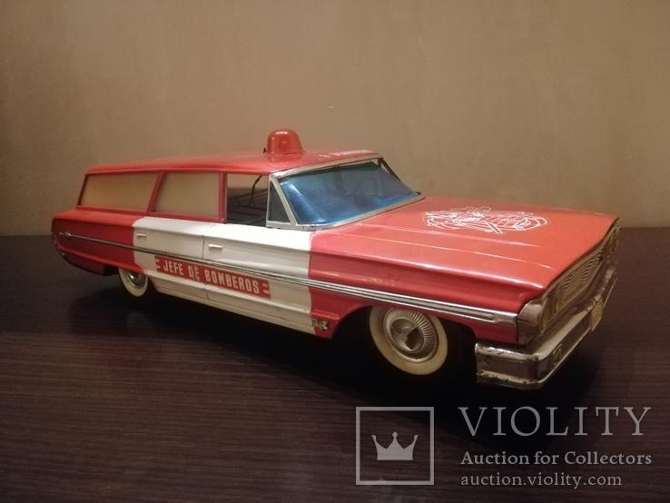 Жестяная игрушка Ford Galaxy 43 см. На батарейках. 60-е годы. Рабочая, фото №8