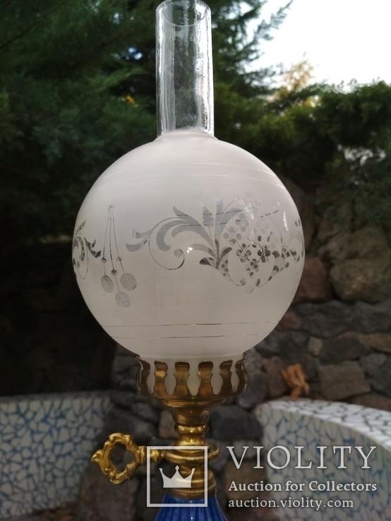 Лампа фарфор нарядная светильник стекло металл под керосиновую, фото №3