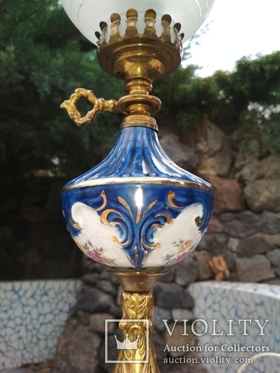 Лампа фарфор нарядная светильник стекло металл под керосиновую, фото №4