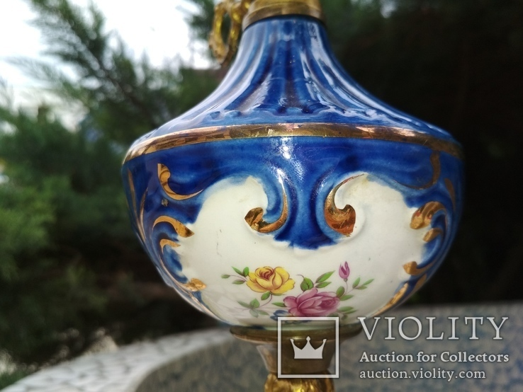 Лампа фарфор нарядная светильник стекло металл под керосиновую, фото №7