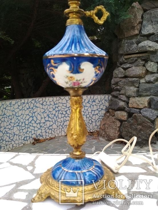 Лампа фарфор нарядная светильник стекло металл под керосиновую, фото №9