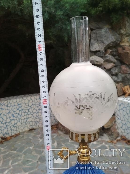Лампа фарфор нарядная светильник стекло металл под керосиновую, фото №13