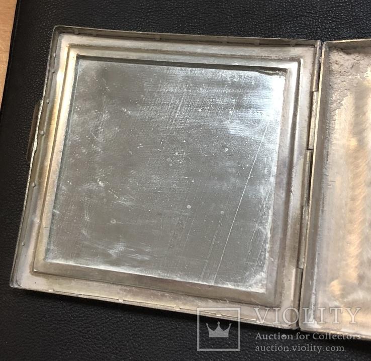 Серебряная пудреница 875 пробы с изображением Кремля., фото №8